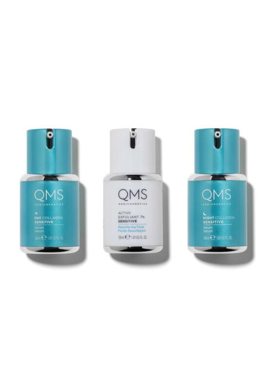 Collagen System Sensitive 3-step Routine Set - nappali, éjszakai kollagén és gyümölcssavas hámlasztó érzékeny bőrűeknek - 3x30ml